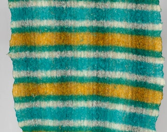 Vintage stripped thick felted wool James Pringle Scotland & Wales green yellow and white stripes