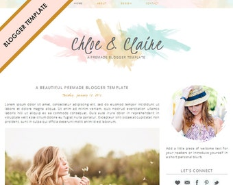 Blogger Template - Premade Blog Design - INSTANT DOWNLOAD - Chloe & Claire Theme