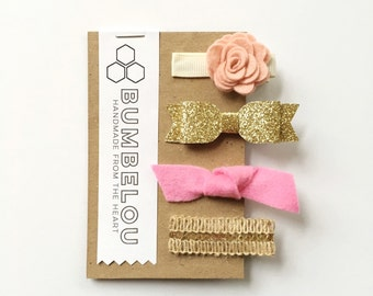 Hair Clip Set - Peony and Gold