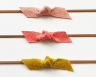 Knot Bows - Headband or Alligator Clip - Set of 3