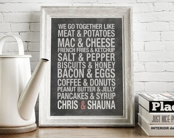 Couples or Best Friends Chalkboard Artwork - Great Wedding Shower or Housewarming Gift - Perfect Kitchen or Dining Room Artwork