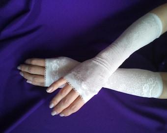 Milk White Lace Fingerless Gloves | Long Romantic Fingerless Gloves| Fingerless |Wedding Bridal Bohemian Romantic Gloves |
