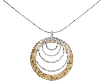Two Tone Necklace, Graduated Circles Necklace, 925 Sterling Silver & 14K Gold Filled, Cascading, Round, Stera Jewelry Y675