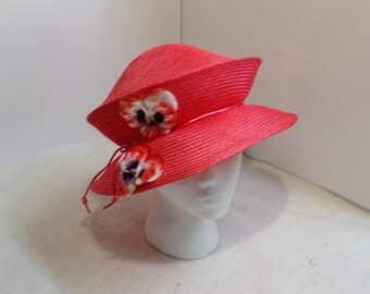 Straw Travel Packable Folding Hat Millinery Pink Womans