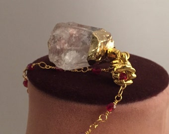 Spring sale! Get 10% off by entering DISC10 upon checkout. Rose Quartz Pendant Necklace, Rose Quartz Semiprecious Stone, Rhinestone rondel,