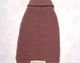 Handmade Chocolate Brown Pure Australian Merino Wool Knitted Dog Sweater - XS to Large Sizes.