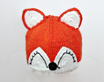 Fox hat fleece lining animal beanie knit baby hat photo props baby girl toddler fox hat winter hat with ears children costume kids dress up