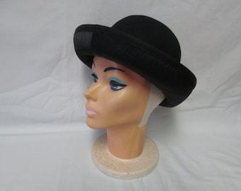 Vintage Liz Claiborne Wool Bowler Hat 100% wool with Quilted black Satin under brim