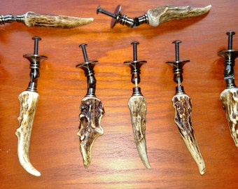 Deer Antler and Antique Brass Drawer Pull