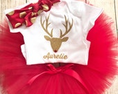 Personalised Christmas Red Tutu Outfit Reindeer Gold Glitter Onesie, Matching Headband Baby Girl 1st Christmas Photo Prop First Personalized