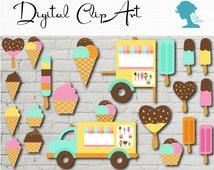 Digital Scrapbooking Clip Art: Ice Cream Van/Truck with Ice Cream Cart & Assorted Ice Creams Buy 2 Get 1 Free INSTANT DOWNLOAD