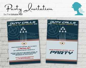 Digital Party Printable: Editable Blue Air Force Party Invitation 5x7in INSTANT DOWNLOAD