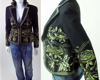 80s Floral embroidered ethnic Spanish inspired coat jacket