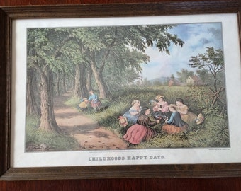 "Vintage Currier and Ives Framed Picture Titled ""Childhoods Happy Days"""
