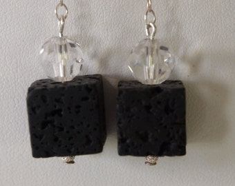 Dangle Earrings Black Lava and Clear Crystal
