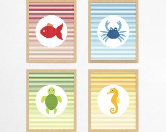 Sea Creatures SET OF 4 Wall Prints | Nursery Decor | Children's Room Print