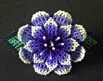 Huichol Hair Brooch - Blue Flower Clip - Beaded Barrette - Huichol Beadwork - Womens Hair Accessories - Floral Hair Clip - Native American