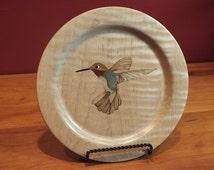 Hummingbird Plate, Collector Plate, Bird Decor, Home Decor, Display, Ruby Red throat Hummingbird