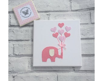 Pink Elephant canvas picture baby shower, nursery picture, new baby gift, pink elephant, baby girl gift, nursery decor