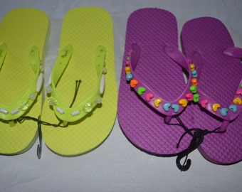 Two Pairs Of Girls Beaded Flip Flops Size 11-12