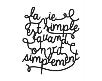 "Typography poster ""La vie est simple"" / available in different colors"