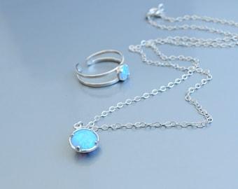 Opal necklace silver. Fire opal. Opal Jewelry. Blue Opal. White Opal Pink. Minimalist Delicate Opal Necklace. Opal ring. Girlfriend gift