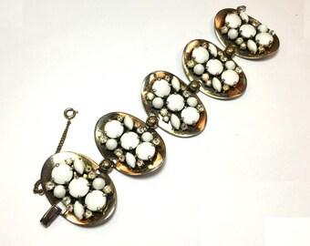 50s Schiaparelli Gold Link Bracelet | White Milk Glass Oval Link Bracelet | Elsa Schiaparelli