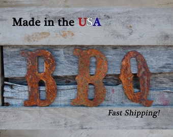 "8"" BBQ Letters, Western Letter, Metal Letter, Indoor/Outdoor, Patio Decor, Grill, BBQ Decor, Grilling, House Decor, F1004"
