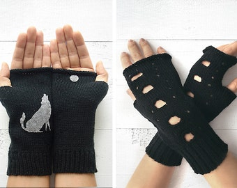 VALENTINE'S GIFT, FAST Delivery, Wolf Gloves, Fingerless Gloves, Black Gloves, Rock Chic Gloves, Valentine Gift, Gift For Her, Unique Gloves