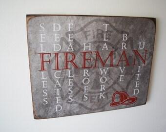 Fireman Sign, Fireman Decor, Firefighter Sign, Firefighter Sign, Firefighter Gift, Fireman Gift, Firefighter, Fireman, Fireman Quote
