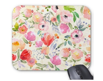 Watercolor Flowers Print Mouse Pad, Colorful Vintage Floral Mousepad
