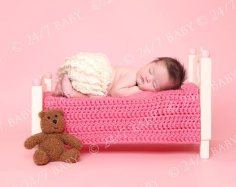 Digital Studio Backdrop Instant Download Baby Girl Pink Bed Scene Prop Newborn Baby Photography