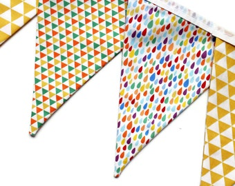 Geometric garland - geometric bunting - fabric pennant banner - party bunting - bright bunting - raindrop garland