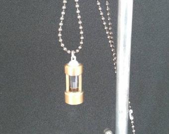 Steampunk gothic brass pendant necklace with quartz crystal handmand