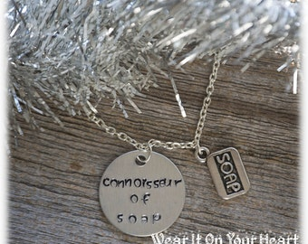 A Christmas Story movie inspired hand stamped quote necklace connoisseur of soap Ralphie Parker red ryder ORIGINAL design