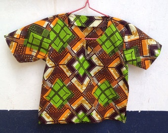 African Wax 'Block Party' Boys Tunic