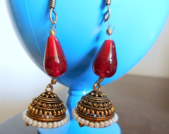 Gift for her Dangle drop earrings silver plated jhukma banjara pearl earrings -S10