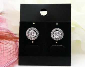 Cubic Zirconia Wedding bridal Flat Halo Earrings, CZ  bridesmaid earrings gifts