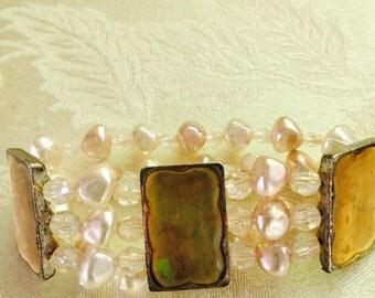Pink & Gold Color Stretch Bracelet