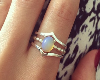 Sterling silver ring set with genuine Ethiopian or Australian Opal