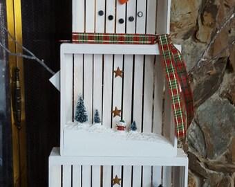 Wood Crate Snowman