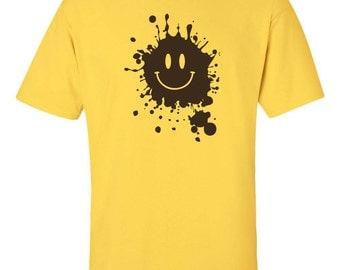 MUD Splatter Smiley Face Smile Forrest Gump Movie Men's Tee Shirt 661