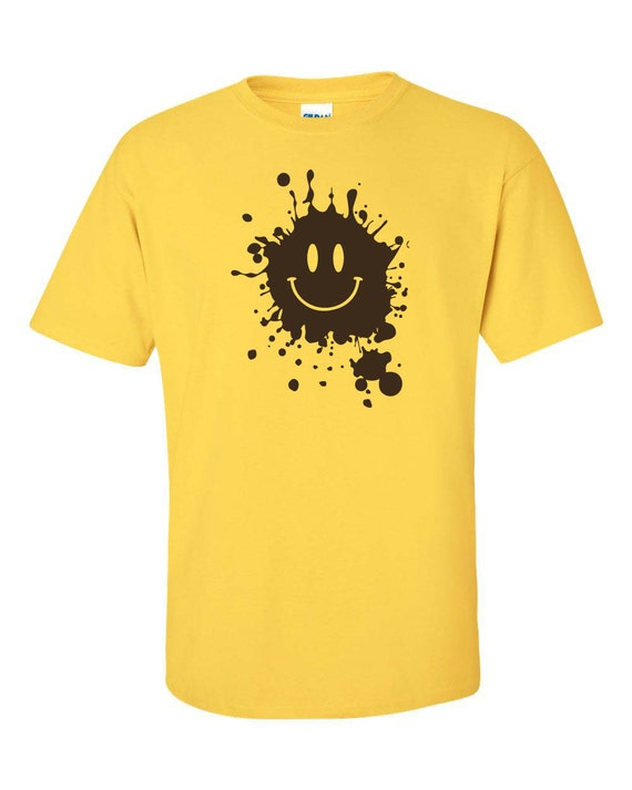 mud splatter smiley face smile forrest gump movie men 39 s tee shirt 661. Black Bedroom Furniture Sets. Home Design Ideas