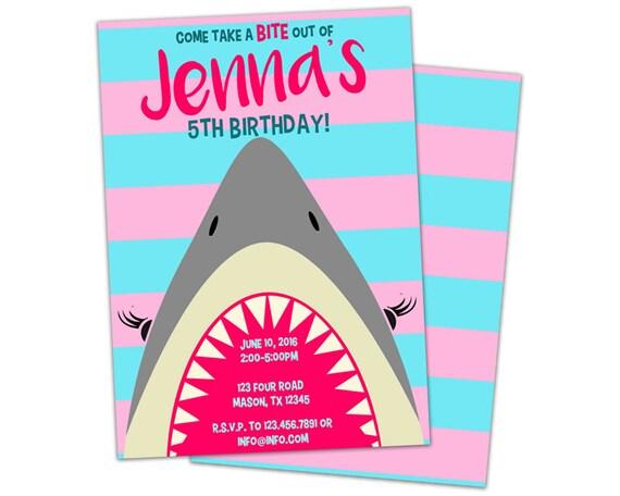 girl shark birthday invitation - pink shark party invitations, Party invitations