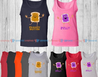 Peanut Butter & Jelly - Matching Couple Tank Top - His and Her Tank Tops - Love Tank Tops