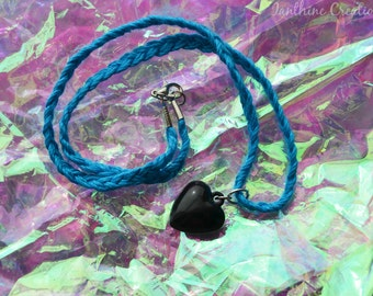 CLEARING OUT SALE Blue Bamboo Heart Charm Necklace
