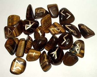 TIGER EYE Runes Set for reiki healing, complete with pouch wicca pagan spirituality rune stones tumbled stones