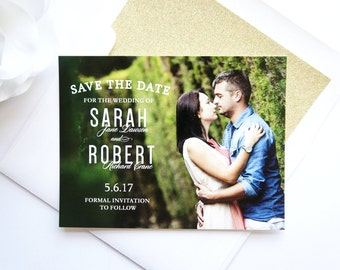 Save the Dates, Save the Date Photo Card, Save the Date with Photo, Modern Save the Date - DEPOSIT
