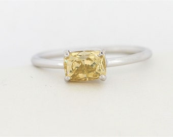 One of a Kind Brownish - Yellow Radiant Cut Diamond Engagement Ring, Radiant Shape Diamond Ring, Unique Radiant Cut Diamond Engagement Ring