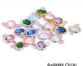 DIY Jewelry Findings, Semi Precious stone findings, Oval connector charms, Semi precious stone pendants, 6x8mm Oval stone charms
